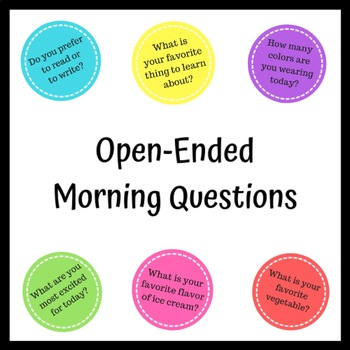 QUESTION CARDS - Open Ended Question Cards for Morning, End of Day, or Circle.