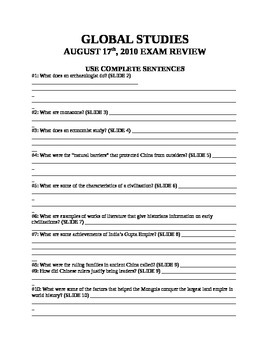 x QUESTION PACKET: Global Studies Review New York State Regents Exam 8-17-2010