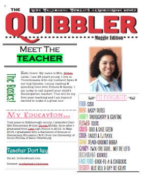 QUIBBLER Meet the Teacher