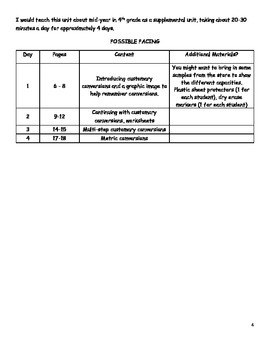 QUICK CURRICULUM:  CAPACITY (Customary and Metric Measurement)