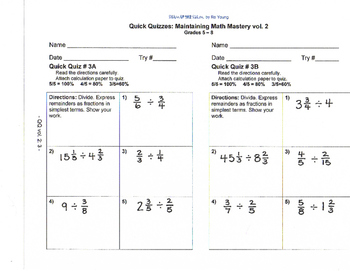Math - THE QUICK QUIZ: Maintaining Mastery, vol.2