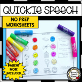 QUICKIE ARTICULATION NO PREP SPEECH THERAPY worksheets Parent note