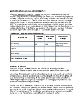 QUILS Template | Speech Therapy Assessment