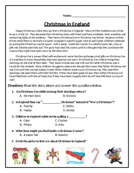 QUIZ:  Christmas in England (UK)  (Editable File)