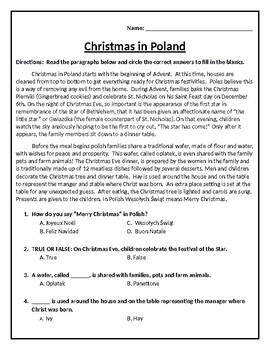 QUIZ:  Christmas in Poland (Editable)