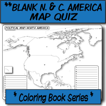 QUIZ North & Central America Political Map **Coloring Book Series**