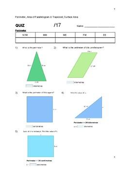 QUIZ Perimeter, Area of Parallelogram & Trapezoid, Surface Area
