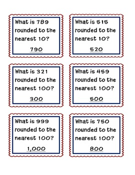 ROUNDING Tens and Hundreds Quiz Quiz Trade Game
