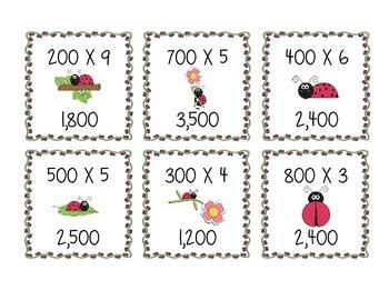 MULTIPLYING TENS & HUNDREDS Quiz Quiz Trade Game