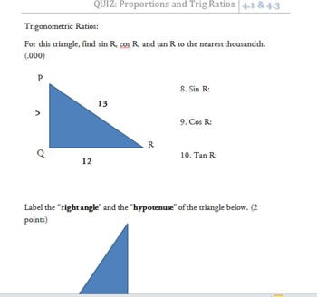 QUIZ: Ratios, Proportions, and Trig Ratios