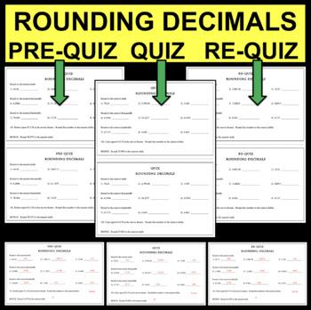 QUIZ Rounding Decimals Place Value Assessment Tenths Hundredths Thousandths