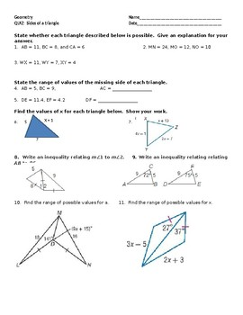 QUIZ:  Sides of a Triangle