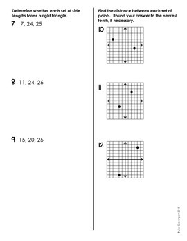 QUIZ (The Pythagorean Theorem)