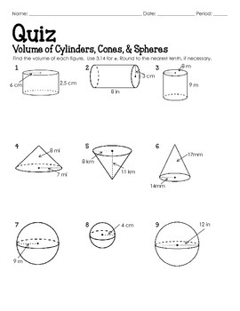 Quiz Volume Of Cylinders Cones And Spheres By Lisa Davenport