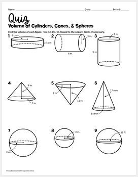 QUIZ (Volume of Cylinders, Cones, and Spheres)