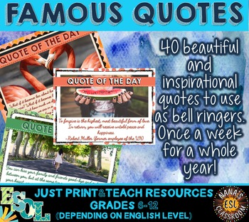 Bell Ringers. 40 Motivational Quotes for teens. Whole Year