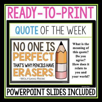QUOTE OF THE WEEK POSTERS & ACTIVITY