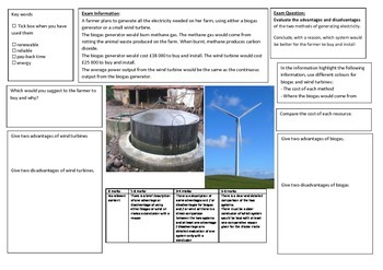 QWC Writing Frame - Biogas Vs. Wind