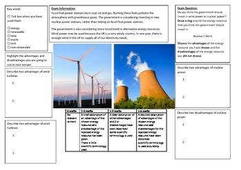 QWC Writing Frame - Wind Vs Nuclear
