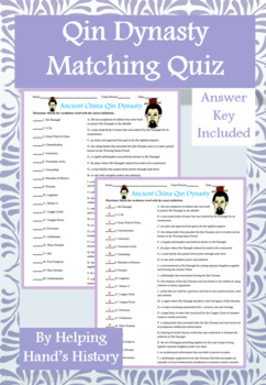 Qin Dynasty Activity Matching with Answer Key