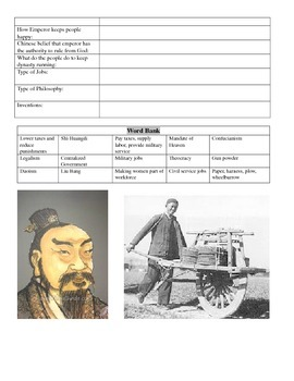 Qin and Han Review Worksheets