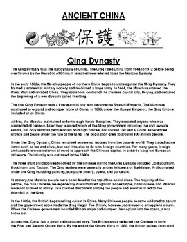Qing Dynasty in ancient China Article and Assignment