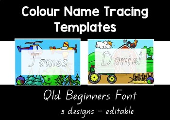 Qld BEGINNERS colour name tracing templates EDITABLE 5 designs