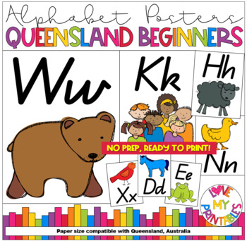 ALPHABET CLASSROOM POSTERS (Aa to Zz) QLD BEGINNERS - Brown Bear - A4, 26pgs