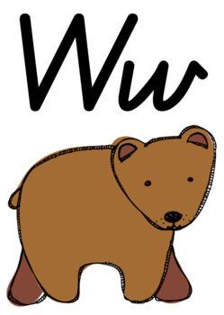 Alphabet Classroom Decor Posters (Aa to Zz) - Brown Bear Theme, Qld Beginners