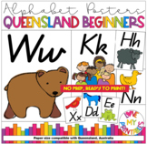 ALPHABET CLASSROOM POSTERS (Aa to Zz) QLD BEGINNERS - Brow