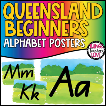 Alphabet Classroom Decor Posters (Aa to Zz) - Grassy Meadow Theme, Qld Beginners