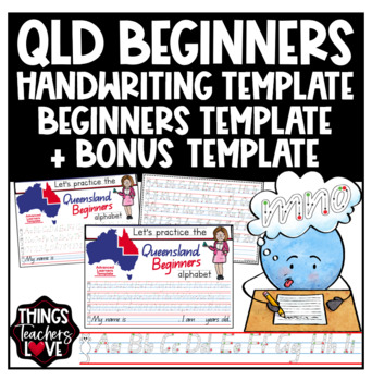Queensland Beginners Handwriting Template with Dashed Style 'Start/Stop' Format