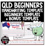 Queensland Beginners Handwriting Template with Block Style 'Start/Stop' Format