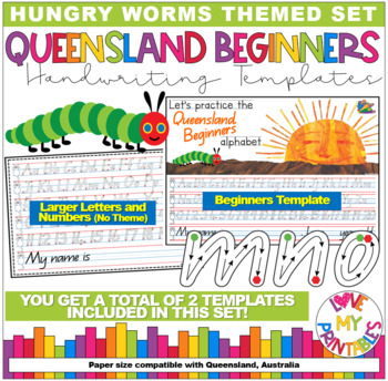Qld Beginners Handwriting Template -The Very Hungry Caterpillar, Start/Stop, A4