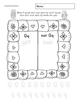 Qq Phonics & Printing Practice
