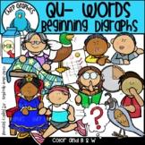 Qu Words Beginning Digraphs Clip Art Set