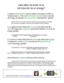 ¿Qué debo de incluir en la introducción? Introductory paragraph notes in Spanish