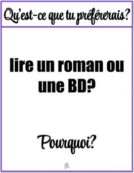 Qu'est-ce que tu préférerais -  I'd rather French speaking cards