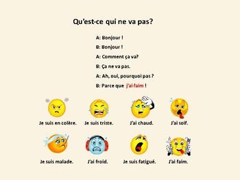 Qu'est-ce qui ne va pas, expressions with avoir and être, dialogue in French