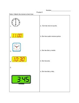 ¿Qué hora es? Quiz for telling time in Spanish.