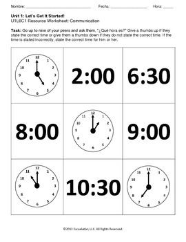 ¿Qué hora es? Spanish Complete LP, Worksheets & Assessment