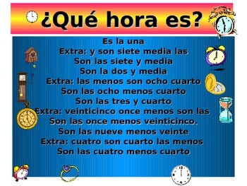 Spanish Teaching Resources ¿Qué hora es? The time (12 hour clock) Warmer.