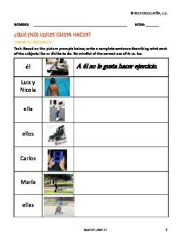 ¿Qué (no) le/les gusta hacer? Spanish Complete LP, Worksheets & Assessment