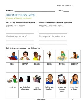 ¿Qué (no) te gusta hacer? Spanish Complete LP, Worksheets & Assessment