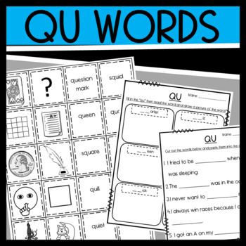 Qu worksheets: sorts and read and draw by Designed by Danielle | TpT