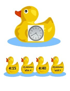 Quack, Quack Tell Time To 5 Minutes Math Station 2.MD7 2nd Grade CC