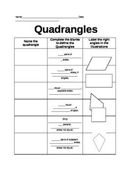 Quadrangles Worksheet