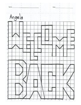 Quadrant 1 Coordinate Graph Mystery Picture, Angela Welcome Back
