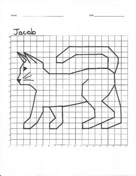 Quadrant 1 Coordinate Graph Mystery Picture, Jacob Cat