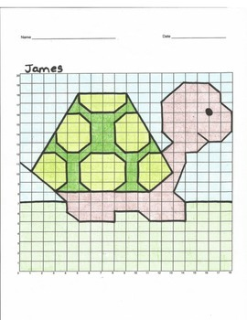 Quadrant 1 Coordinate Graph Mystery Picture, James the Turtle